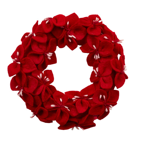 Handmade Hand Felted Wool Wreath - Red Amaryllis Flowers - 14