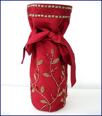 Red Silk Gift Bottle Bag with Gold Hand Beading - Arcadia Home