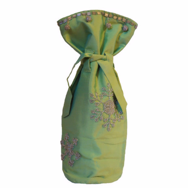 Green Silk Gift Bottle Bag with Hand Beaded Silver Snowflakes - Arcadia Home