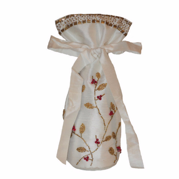 Ivory Silk Gift Bottle Bag with Gold Branches - Arcadia Home