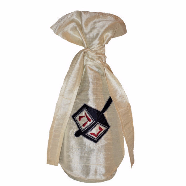 Silk Dreidel Gift Bottle Bag
