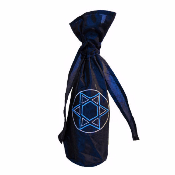 Silk Star of David Gift Bottle Bag in Blue - Arcadia Home