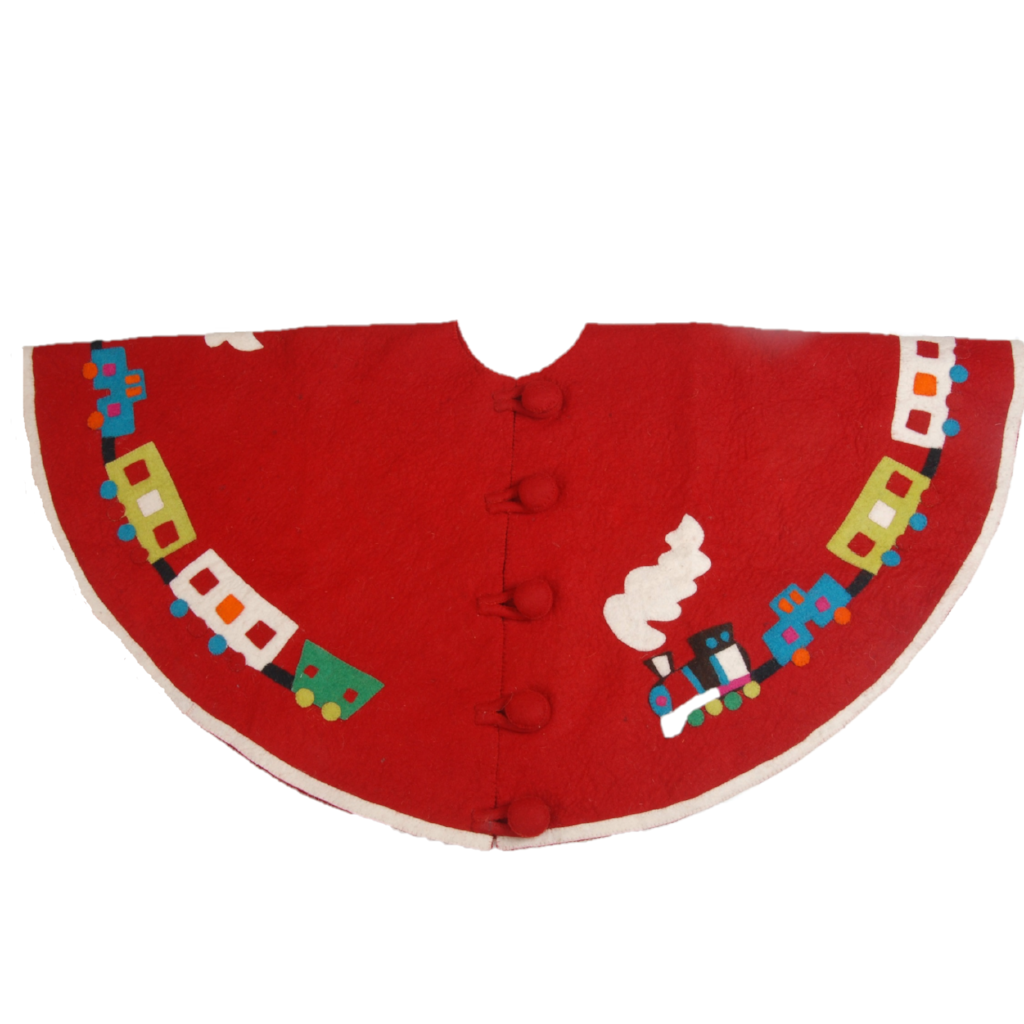 Handmade Christmas Tree Skirt in Felt - Toy Train on Red - 60