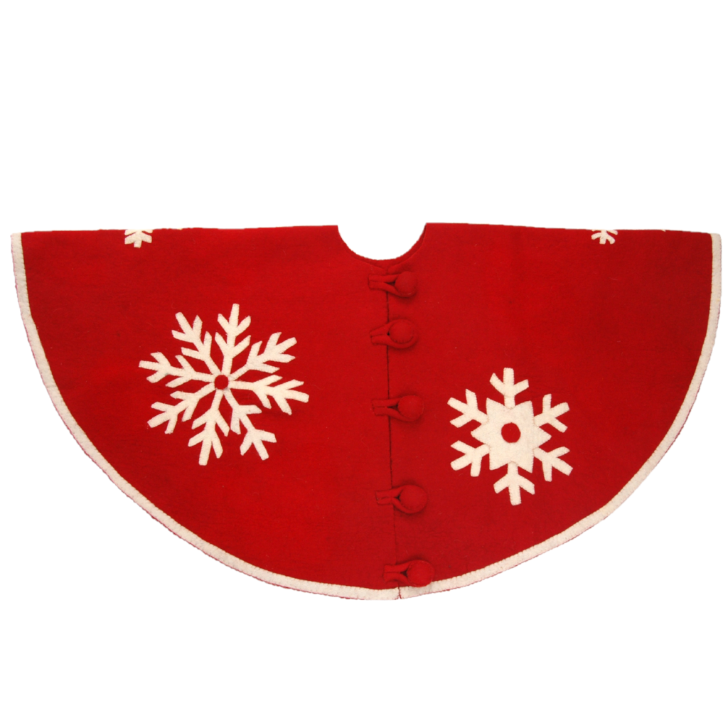 Handmade Christmas Tree Skirt in Felt - Snowflakes on Red  - 60