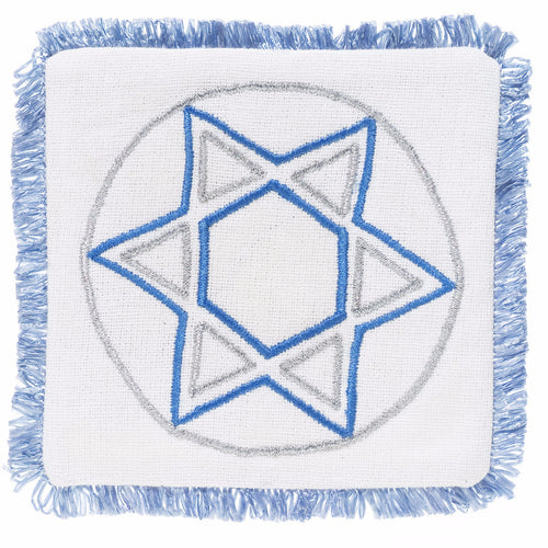Hand Embroidered Star of David Coaster - Set of 4