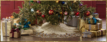 "Handmade Christmas Tree Skirt - Hand Beaded Metallic Starburst on Ivory - 60"" - Arcadia Home"