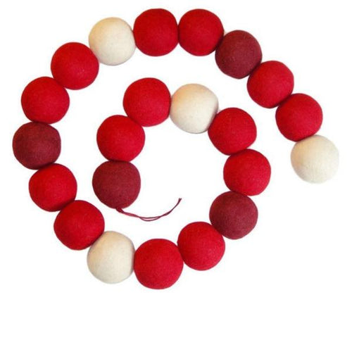 Hand Felted Wool Christmas Garland - Extra Large Maroon, Red, and Cream Balls - 6' - Arcadia Home