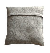 Hand Felted Wool Pillow - 3D Flower in Cream on Gray - 20""
