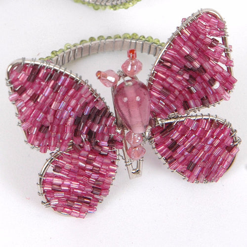 Set of Three Butterfly Napkin Rings in Pink and Purple - Arcadia Home