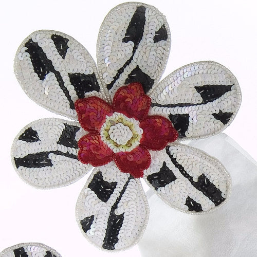 Set of Four BIG FLOWER! Napkin Rings with Pink Center - Arcadia Home