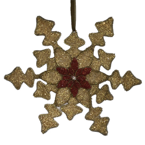 Hand Beaded Snowflake and Red Flower Christmas Ornament in Gold - 8