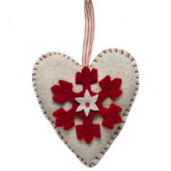 Handmade Felt Cream Heart Christmas Ornament