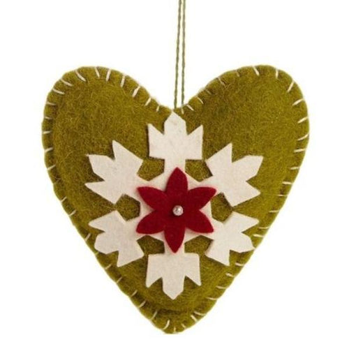 Handmade Felt Green Heart Christmas Ornament