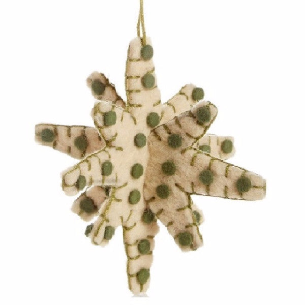 3D Star ornament in Green on Cream - Arcadia Home