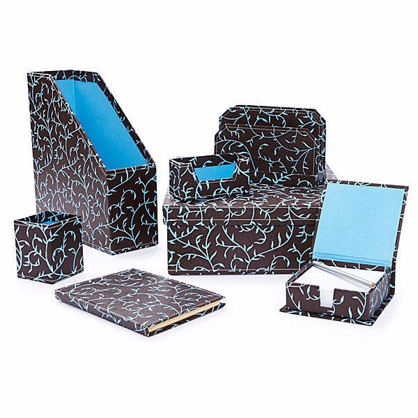 Desk Set in Recycled Cotton - Blue Vine Pattern - Arcadia Home