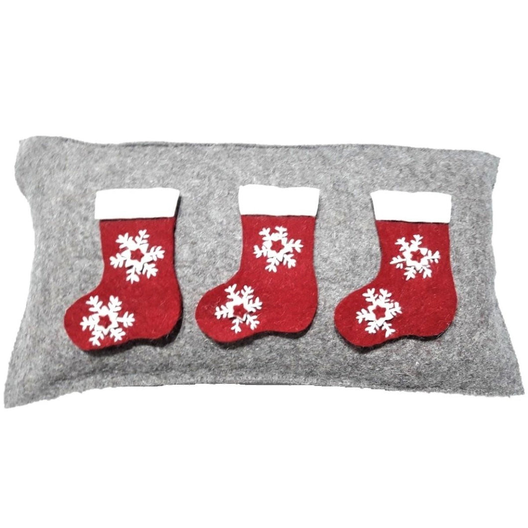 Hand Felted Wool Christmas Pillow – Stockings on Gray – 12x24""