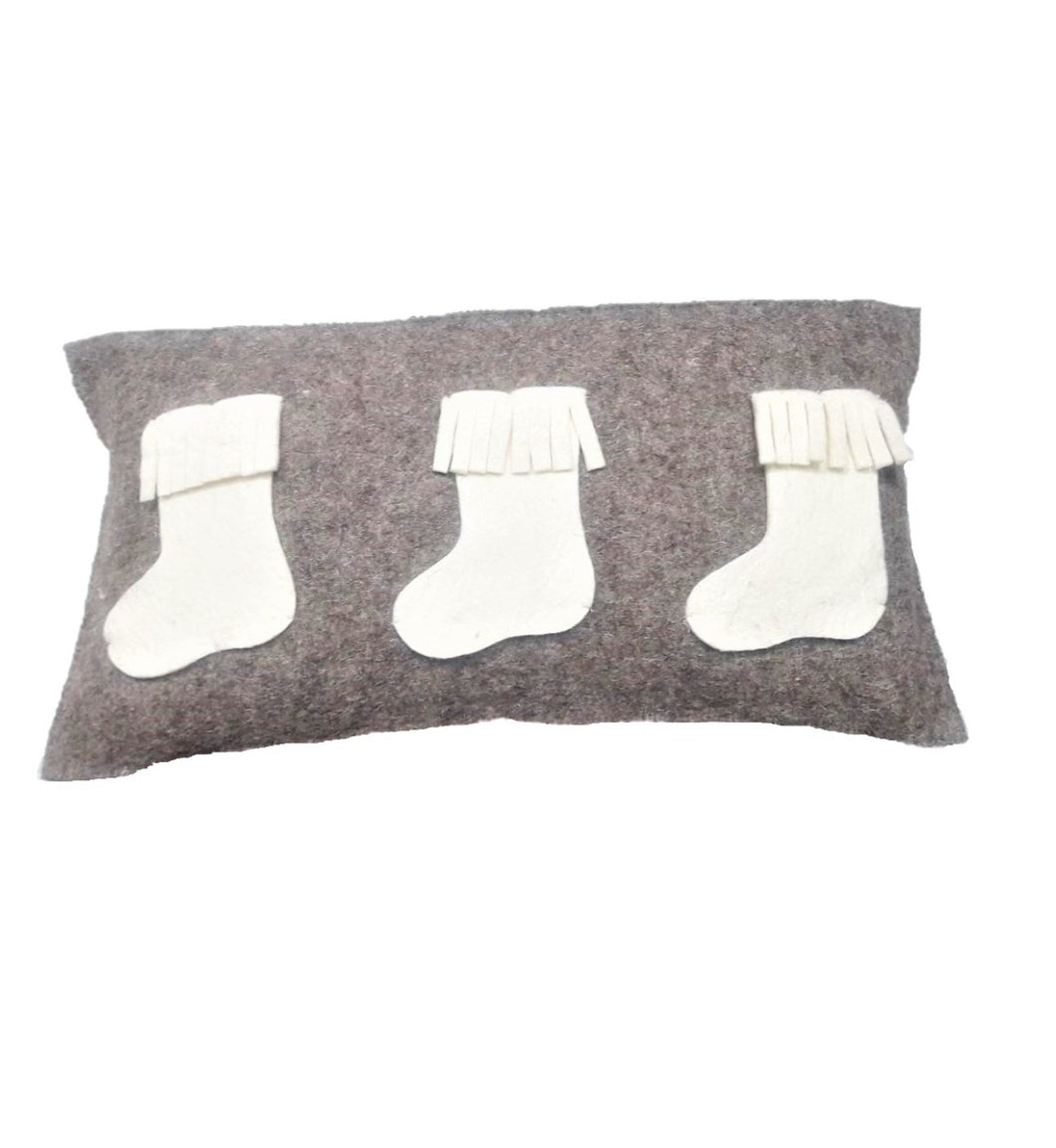 Hand Felted Wool Christmas Pillow  – White Stockings on Gray – 12x24""