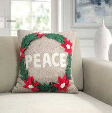 "Hand Felted Wool Christmas Pillow - PEACE Wreath in Natural Gray - 20"" - Arcadia Home"