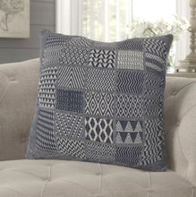 "Artisan Hand Loomed Cotton Square Pillow - Indigo Blocks - 24"" - Arcadia Home"