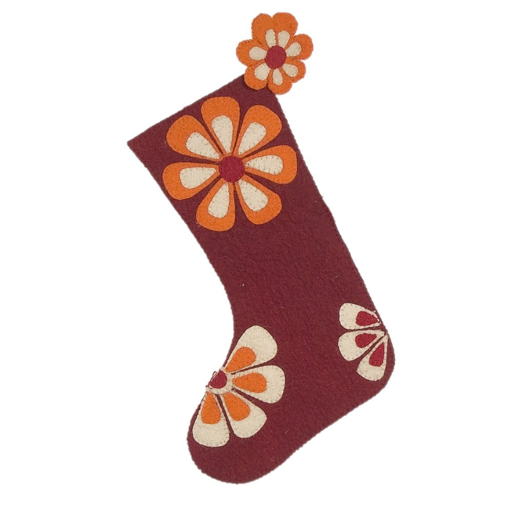 Hand Felted Wool Christmas Stocking - Flower Power in Red - Arcadia Home