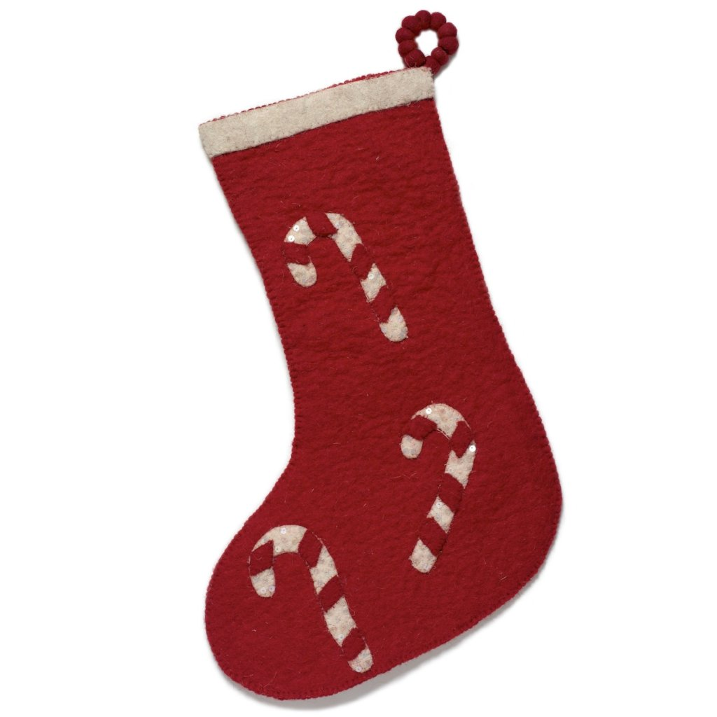 Hand Felted Wool Christmas Stocking - Candy Cane on Red