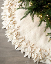 "Hand Felted Wool Christmas Tree Skirt - Overlapping Flowers Border in Cream - 64"" - Arcadia Home"