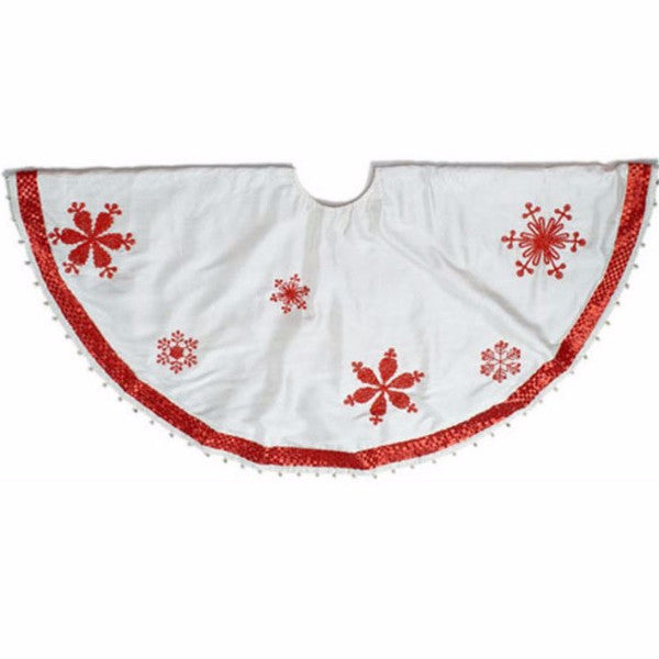 Ivory Silk Christmas Tree Skirt with Red Beaded Snowflakes