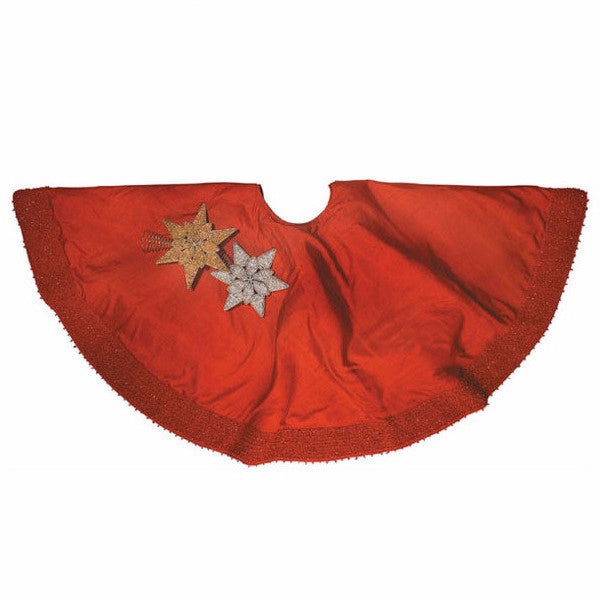 Red Silk Christmas Tree Skirt with Red Pebble Border - Arcadia Home