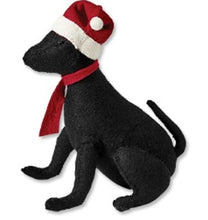 Black Lab with Santa Hat Christmas Tree Topper in Hand Felted Wool - Arcadia Home