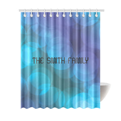 "Shower Curtain 69""x84""- Personalized Family Name - Lights"