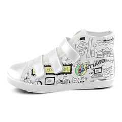 School doodle black white chalk - Kids Shoes Velcro - Canvas