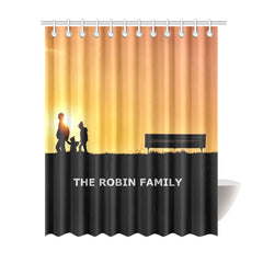 "Shower Curtain 69""x84""- Personalized Family Name - Yellow - Black"