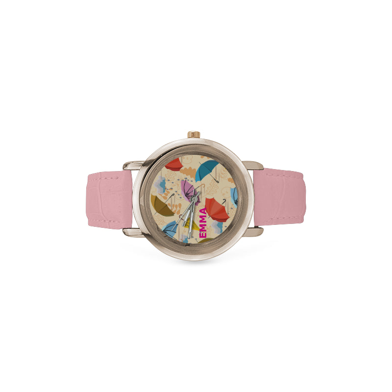 Watch umbrellas floral - Women- Rose Gold Leather Strap