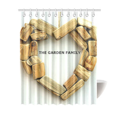 "Shower Curtain 69""x84""- Personalized Family Name - Wood Heart"