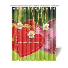"Shower Curtain 69""x84"" - Personalized Family Name - Heart - love"