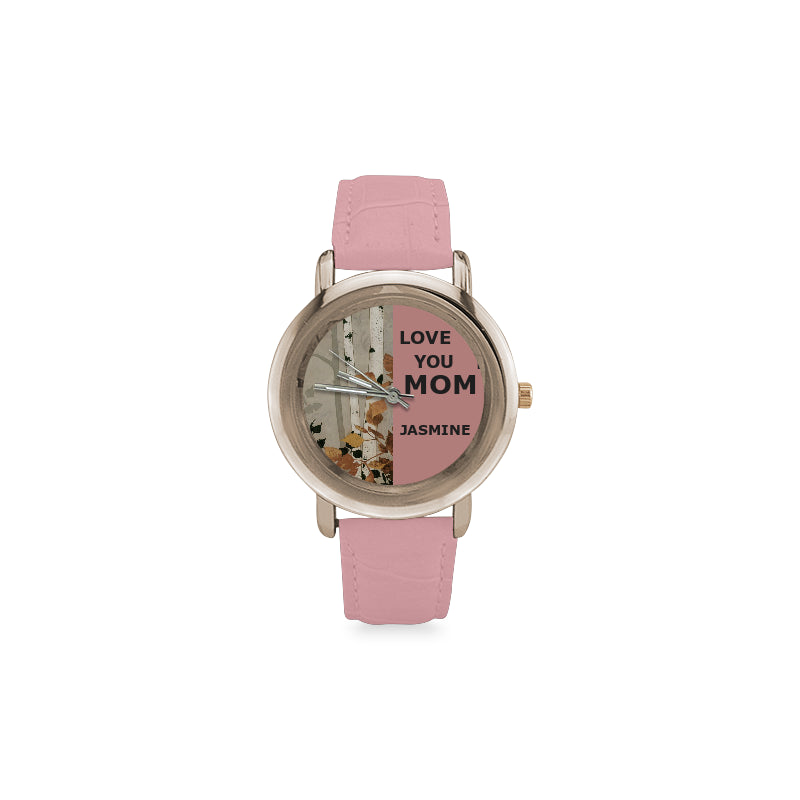 Watch Rose Gold Leather - Nature winter -Mothers day gift