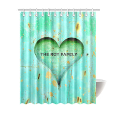 "Shower Curtain 69""x84"" - Personalized Family Name - Heart-wood-love"