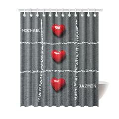 "Shower Curtain 69""x84"" -Personalized Names - Red - Heart"