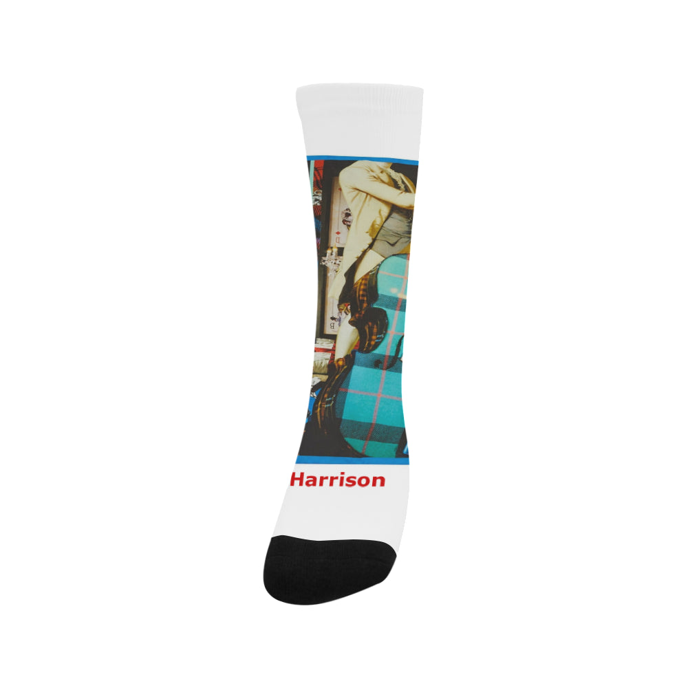 Socks - Music guitars game cards people Sublimated Crew - Men/ Women