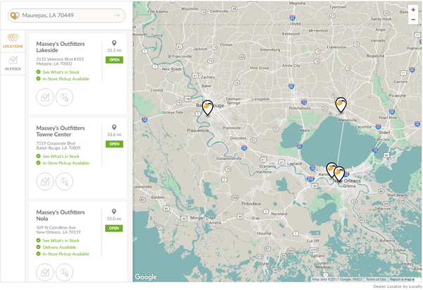 Browse Massey's locations from a map view.