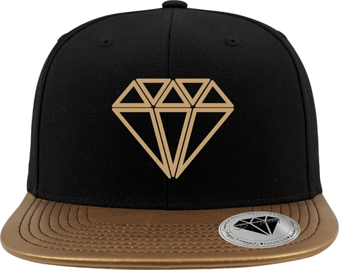 Metalic Visor Snapback with Gold Diamond
