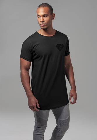Long Shaped Turnup Tee - Black