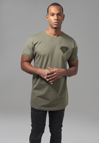 Long Shaped Turnup Tee - Olive