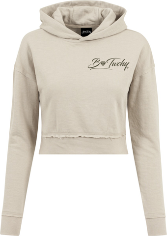Ladies Short Slub Terry Hoodie - Sand