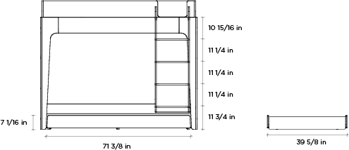 Bed Dimensions.Perch Trundle Bed Twin Size