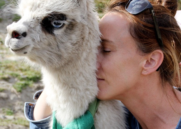 Sophie Demenge in Bolivia with alpaca