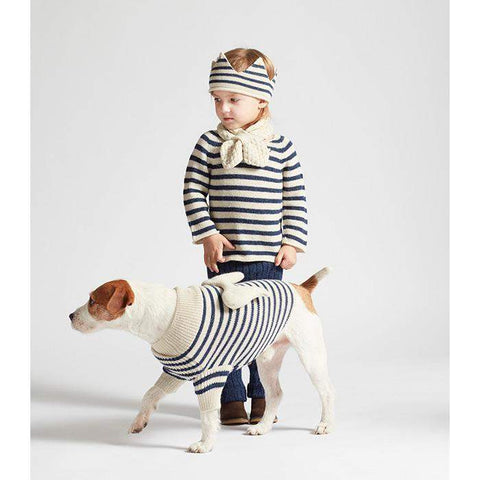 Dog Angel Sweater-White/Indigo Stripes