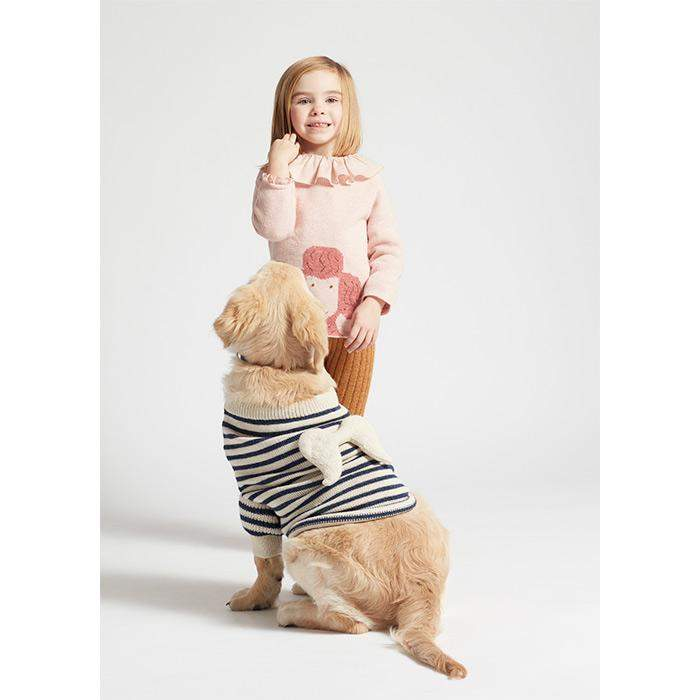 Dog Angel Sweater-White/Indigo Stripes - Oeuf LLC