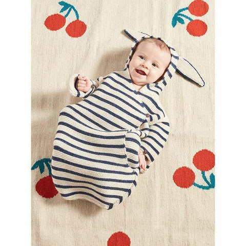 Bunny Wrap-White/Indigo Stripes-Oeuf LLC