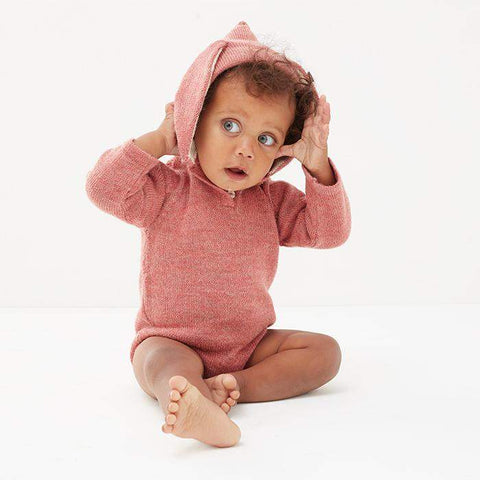 Oeuf x Reformation Bunny Hooded Onesie-Rose-Oeuf LLC